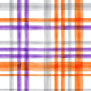 Halloween watercolor plaid - orange, grey, and purple - LAD19