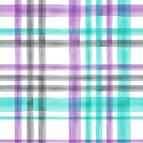 watercolor plaid - purple teal and grey - LAD19