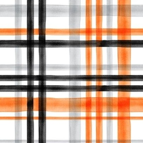 Halloween watercolor plaid - orange, grey, and black - LAD19