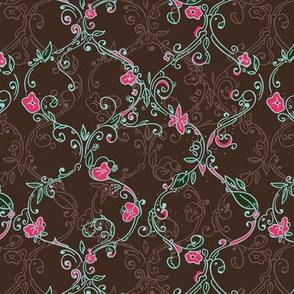 brown flower trellis