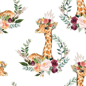 paprika floral giraffe with crown 6""