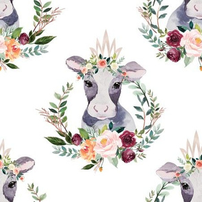 paprika floral cow with crown 6""