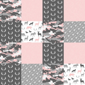 Pink and Grey Woodland Patchwork - Wholecloth - LAD19
