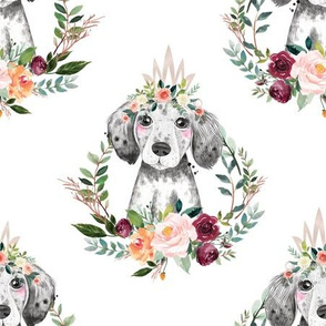 paprika floral dog with crown 6""