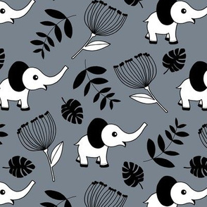 Little elephant jungle garden botanical leaves and flowers winter stone gray