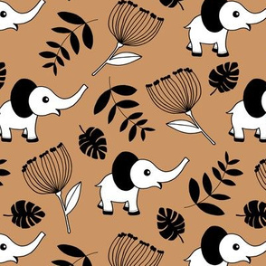 Little elephant jungle garden botanical leaves and flowers fall kaki brown