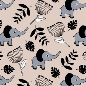 Little elephant jungle garden botanical leaves and flowers winter blue gray neutral beige