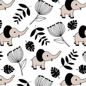Little elephant jungle garden botanical leaves and flowers winter white black gray neutral