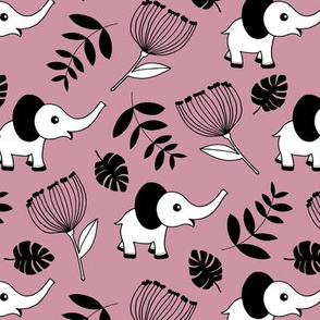 Little elephant jungle garden botanical leaves and flowers fall lilac dusty pink