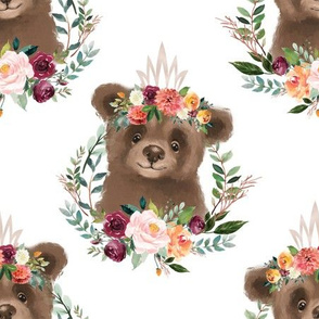 """paprika floral brown bear with crown 6"""" wide"""
