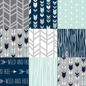 Wild and Free Patchwork - Mint, Navy and grey - arrows