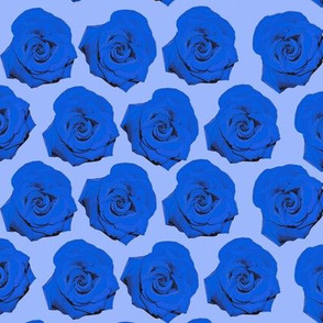 Pop Art Roses in Blue Floral Pattern