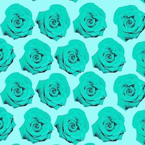Aqua Blue Pop Art Rose Pattern