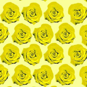 Pop Art Yellow Roses Screenprint Pattern