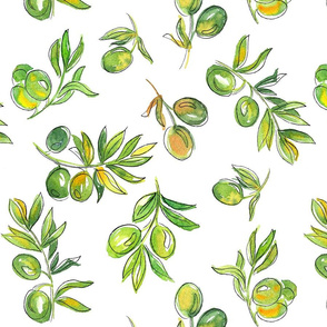 Olives on a white background. Watercolor drawing.