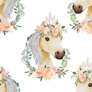 """peach coral floral horse 6"""""""
