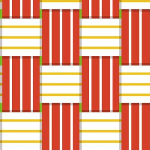 Chaise Lounge* (Maxi Tomato Soup) || lawn chair picnic summer woven weaving stripes red yellow 70s retro groovy outdoors upholstery