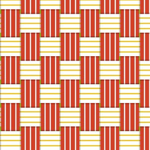 Chaise Lounge* (Mini Tomato Soup) || lawn chair picnic summer woven weaving stripes red yellow 70s retro groovy outdoors upholstery