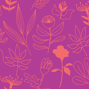 whatnot floral coral doodles