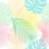tropical leaves in linen