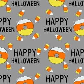 candy corn donuts fabric - happy halloween fabric, halloween fabric, trick or treat, cute, cute donuts, food, halloween food, cute fabrics -  grey