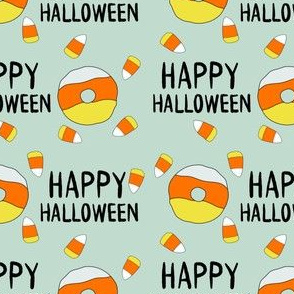 candy corn donuts fabric - happy halloween fabric, halloween fabric, trick or treat, cute, cute donuts, food, halloween food, cute fabrics - mint