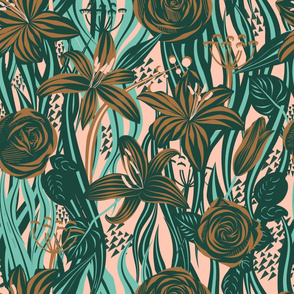 Roses and lilies directional pattern by Kreativkollektiv