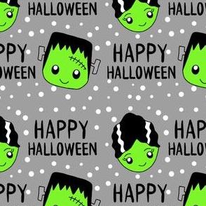 frankenstein and bride fabric - halloween fabric, cute halloween fabric, cute fabric, kawaii fabric, kawaii halloween, - grey