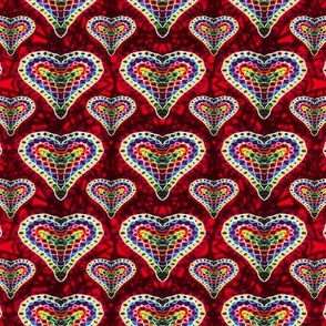 Hot Mosaic Rainbow Hearts