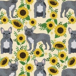 french bulldog sunflower fabric - frenchie fabric, grey french bulldog, grey frenchie fabric, sunflower fabric, cute dog fabric - cream