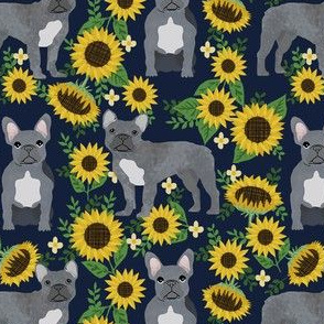 french bulldog sunflower fabric - frenchie fabric, grey french bulldog, grey frenchie fabric, sunflower fabric, cute dog fabric -  dark blue