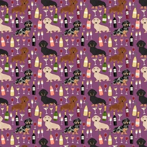 SMALL - dachshund wine fabric wine and booze champagne bubbly fabric - amethyst