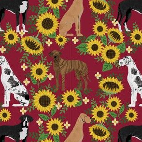 great dane sunflowers fabric - great dane fabric, dog fabric, sunflowers fabric, great danes fabric, cute dog - marroon