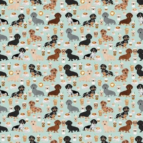 SMALL - dachshund coffee fabric, coffees and lattes fabric - light