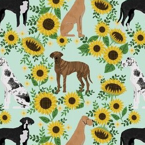 great dane sunflowers fabric - great dane fabric, dog fabric, sunflowers fabric, great danes fabric, cute dog - mint