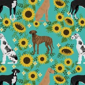 great dane sunflowers fabric - great dane fabric, dog fabric, sunflowers fabric, great danes fabric, cute dog - turquoise