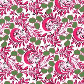 Russian Khokhloma Floral Flourishes Folk Art Pattern