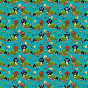 SMALL - Dachshund ninja dog fabric - dachshund, dachshund fabric, dog fabric, ninja fabric, dog costume, dog costumes fabric - teal