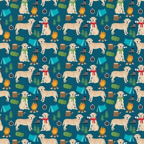 SMALL - yellow labrador camping outdoors dog breed fabric navy