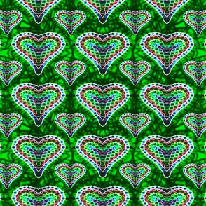 Green Mosaic Hearts