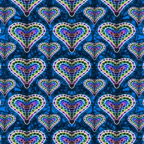 Blue Mosaic Hearts