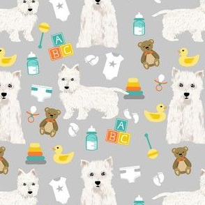 westie baby fabric - dog fabric, baby shower fabric, expecting fabric, pet, cute gender neutral fabric -  grey