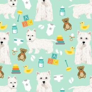 westie baby fabric - dog fabric, baby shower fabric, expecting fabric, pet, cute gender neutral fabric - mint