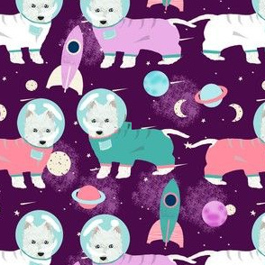 westie space fabric - west highland terrier, westie astronaut fabric, dog astronaut fabric, dog fabric cute dog fabric dogs - purple