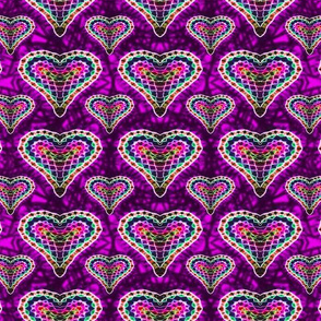 Purple Mosaic Hearts