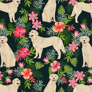 golden retriever hawaiian fabric - dog fabric, hawaiian floral fabric, dog fabric, dogs fabric -  black