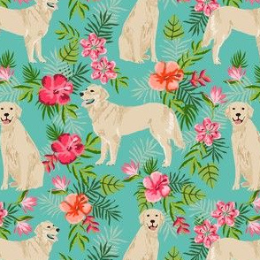 golden retriever hawaiian fabric - dog fabric, hawaiian floral fabric, dog fabric, dogs fabric -  turquoise