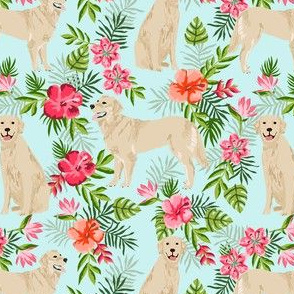 golden retriever hawaiian fabric - dog fabric, hawaiian floral fabric, dog fabric, dogs fabric - light blue