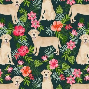 yellow labrador hawaiian fabric - hawaiian floral fabric, dog fabric, labrador fabric, yellow lab fabric -  dark