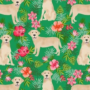 yellow labrador hawaiian fabric - hawaiian floral fabric, dog fabric, labrador fabric, yellow lab fabric -  green